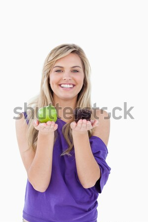 Boldog szőke nő vacilláló muffin zöld alma Stock fotó © wavebreak_media