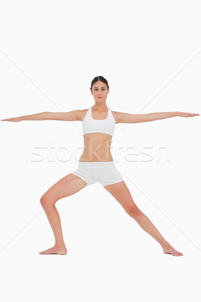 Mulher ioga guerreiro pose branco fitness Foto stock © wavebreak_media