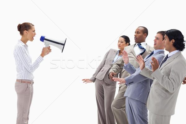 Nő kiabál üzletemberek megafon fehér üzlet Stock fotó © wavebreak_media