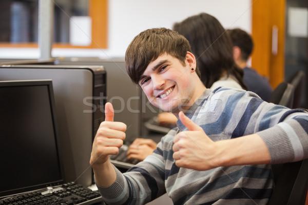 Adam oturma bilgisayar büro kolej Stok fotoğraf © wavebreak_media