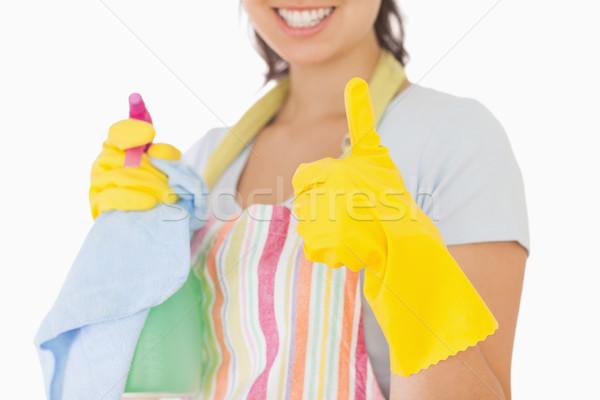 Frau Gummihandschuhe halten Reinigungsmittel glücklich Stock foto © wavebreak_media