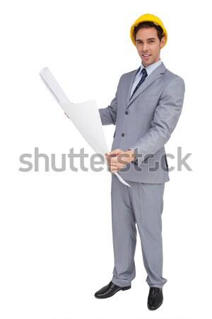 Pincér öltöny felajánlás valami ezüst tálca Stock fotó © wavebreak_media