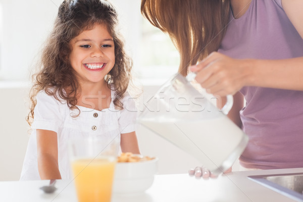 Mother putting milk in the cereal of his daughter Stock photo © wavebreak_media