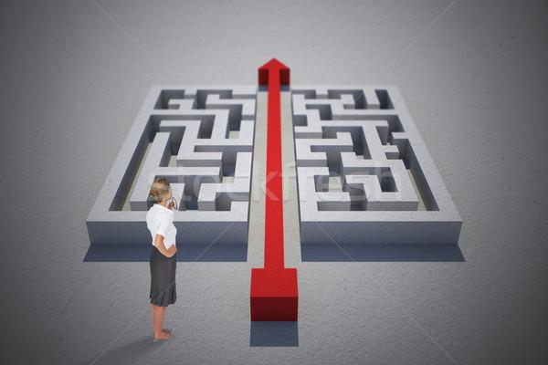 Stock photo: Composite image of thinking businesswoman