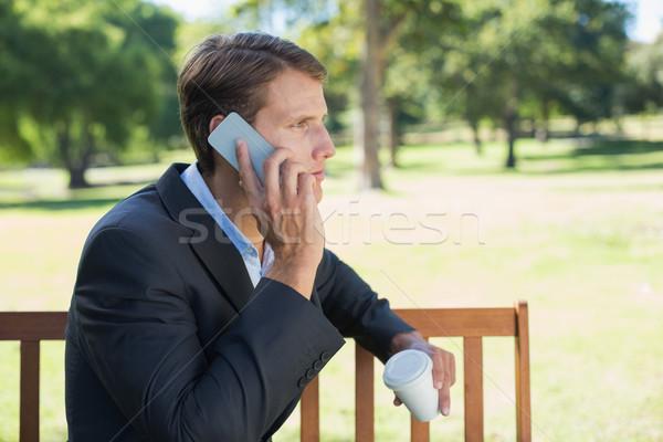 カジュアル ビジネスマン 話し 電話 公園 ベンチ ストックフォト © wavebreak_media