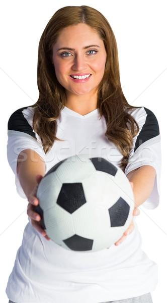 Bastante futebol ventilador sorridente branco mulher Foto stock © wavebreak_media