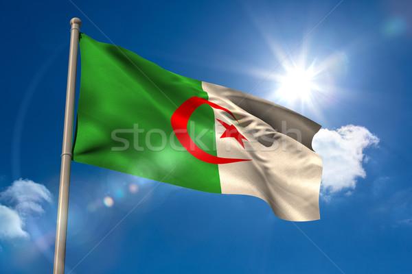 Алжир флаг флагшток Blue Sky солнце свет Сток-фото © wavebreak_media