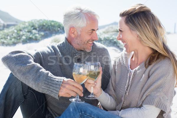 пару белое вино пикника пляж ярко Сток-фото © wavebreak_media