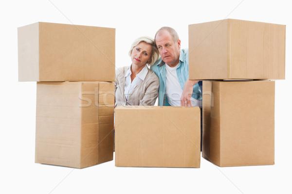 Stressed older couple with moving boxes Stock photo © wavebreak_media