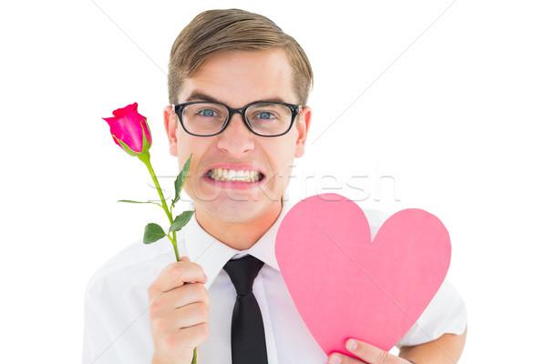 ヒップスター 赤いバラ 中心 カード 白 ストックフォト © wavebreak_media