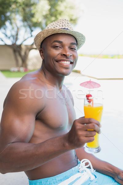 Yakışıklı gömleksiz adam rahatlatıcı kokteyl Stok fotoğraf © wavebreak_media