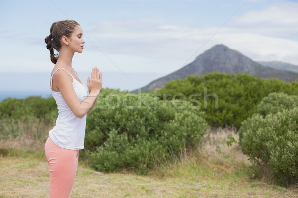 Woman with hands joined standing on countryside landscape Stock photo © wavebreak_media