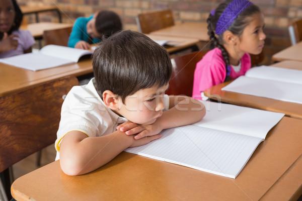 Сток-фото: скучно · сидят · столе · школы · ребенка