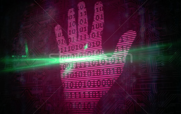 Rosa tecnologia mão imprimir binário projeto Foto stock © wavebreak_media
