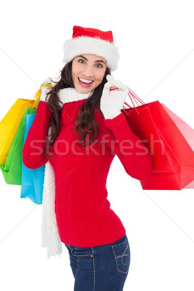 ünnepi barna hajú tél visel tart bevásárlótáskák Stock fotó © wavebreak_media