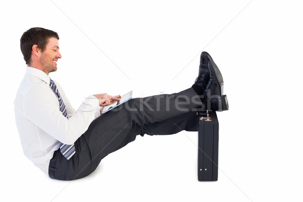 Işadamı ayaklar yukarı evrak çantası beyaz adam Stok fotoğraf © wavebreak_media
