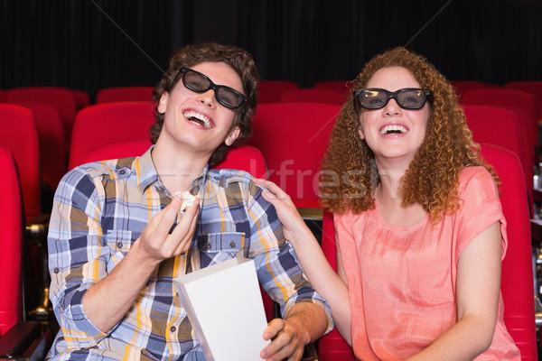 Kijken 3D film bioscoop vrouw Stockfoto © wavebreak_media