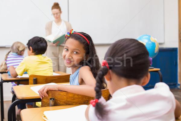 Aranyos mosolyog kamera osztályterem általános iskola nő Stock fotó © wavebreak_media