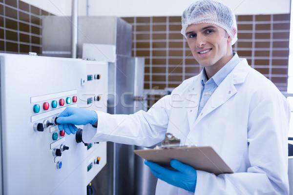 улыбаясь биолог машина завода счастливым зеленый Сток-фото © wavebreak_media