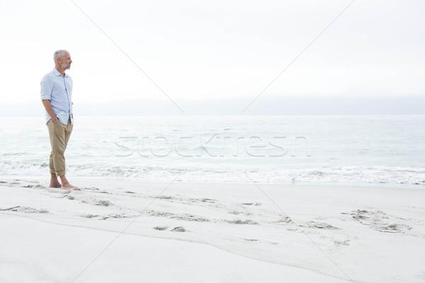 Figyelmes férfi áll tenger tengerpart óceán Stock fotó © wavebreak_media