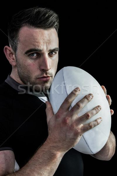 Foto stock: Difícil · rugby · jogador · bola · preto