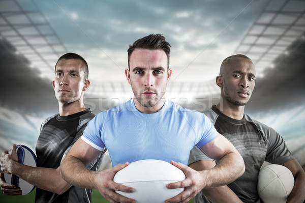Composite image of tough rugby players 3D Stock photo © wavebreak_media