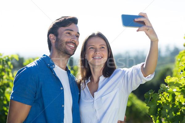 Smiling young couple taking selfie at vineyard Stock photo © wavebreak_media