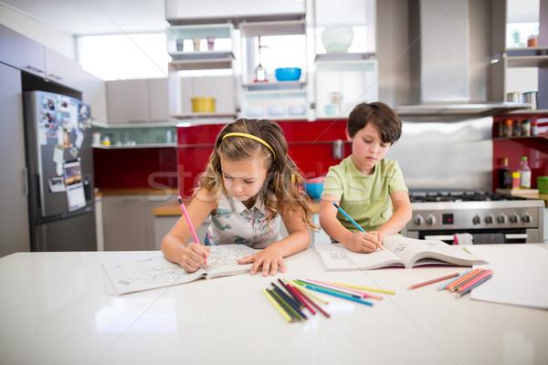 Hermanos deberes cocina casa nina nino Foto stock © wavebreak_media
