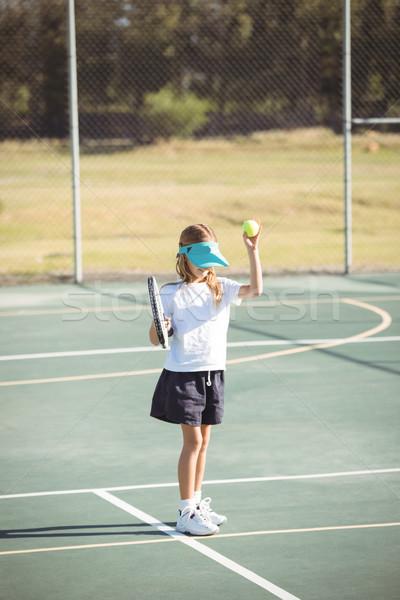 Ragazza giocare campo da tennis bambino fitness Foto d'archivio © wavebreak_media