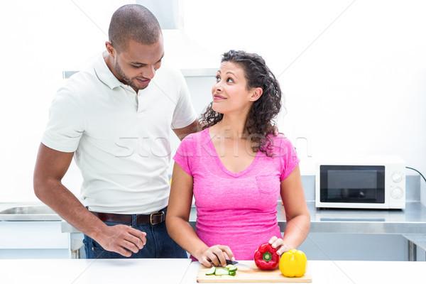Schwanger Ehefrau schauen Ehemann Gemüse Stock foto © wavebreak_media