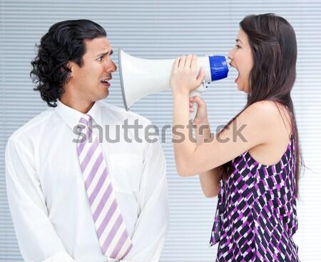 怒っ 女性 若い男 ホーン ラウドスピーカー ストックフォト © wavebreak_media