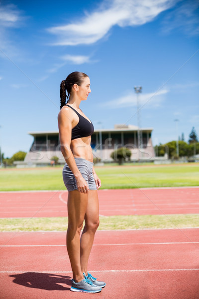 Feminino atleta em pé corrida seguir Foto stock © wavebreak_media