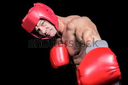 Bokser bokshandschoenen boksen ring man sport Stockfoto © wavebreak_media