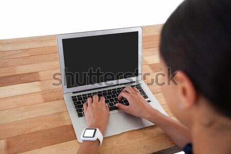 Zakenman met behulp van laptop digitale tablet tabel computer Stockfoto © wavebreak_media