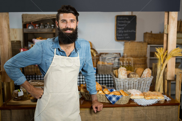 Portré mosolyog férfi személyzet áll kezek Stock fotó © wavebreak_media