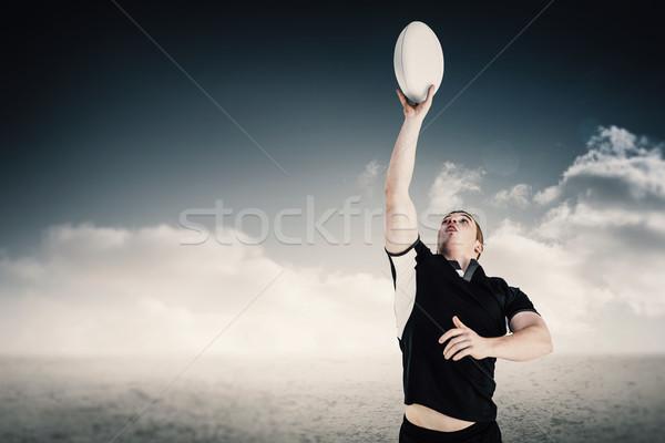 Obraz rugby gracz rugby ball pustyni Zdjęcia stock © wavebreak_media