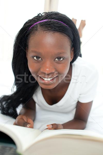 Cute student huiswerk glimlach boek onderwijs Stockfoto © wavebreak_media
