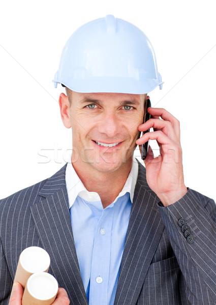 Férfi mérnök beszél telefon izolált fehér Stock fotó © wavebreak_media