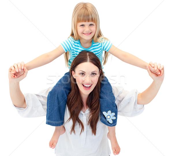 Anya lánygyermek háton nő család lány Stock fotó © wavebreak_media