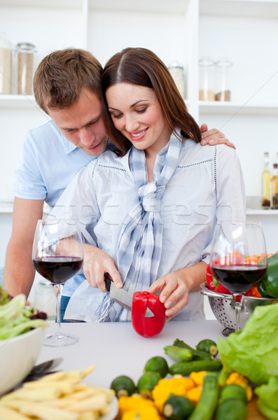 Intimate couple preparing dinner Stock photo © wavebreak_media