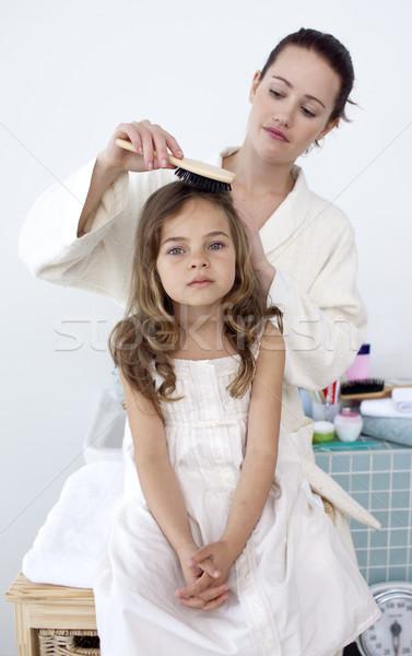 Moeder haren weinig badkamer vrouw glimlach Stockfoto © wavebreak_media