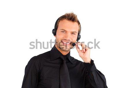 Sonriendo servicio al cliente representante hombre cámara negocios Foto stock © wavebreak_media