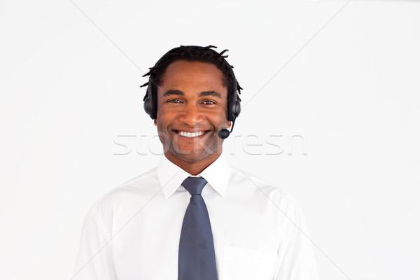 улыбаясь гарнитура бизнесмен улыбка счастливым технологий Сток-фото © wavebreak_media