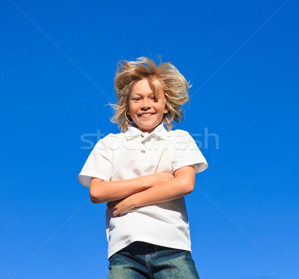 Jonge kid armen gevouwen outdoor Stockfoto © wavebreak_media