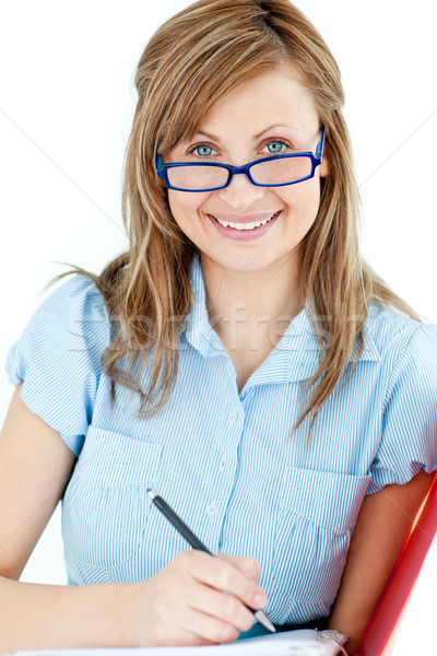 Ambitieus zakenvrouw glimlachend camera witte Stockfoto © wavebreak_media