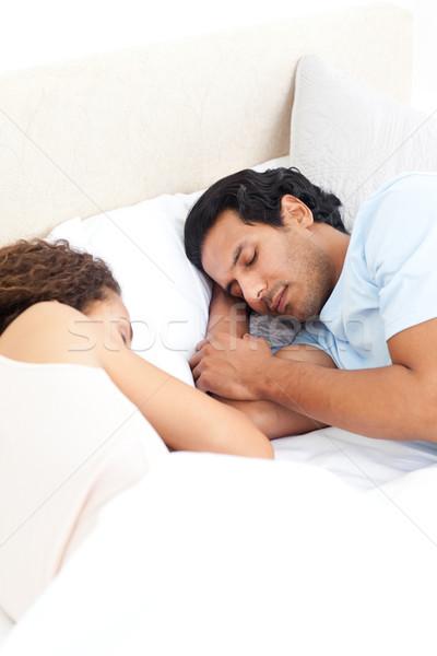 Cute пару спальный вместе кровать уик-энд Сток-фото © wavebreak_media
