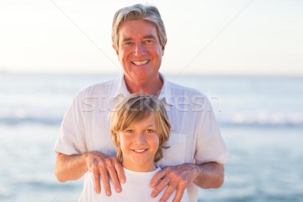 Zdjęcia stock: Portret · dziadek · wnuk · plaży · niebo · wody