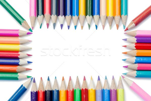 Сток-фото: цвета · карандашей · прямоугольник · белый · аннотация · пер
