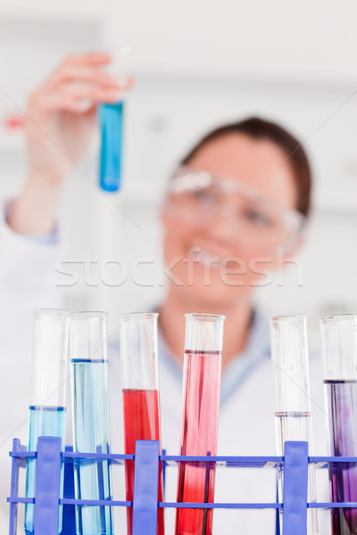 Young scientist looking at test tubes with the camera focus on the tubes Stock photo © wavebreak_media