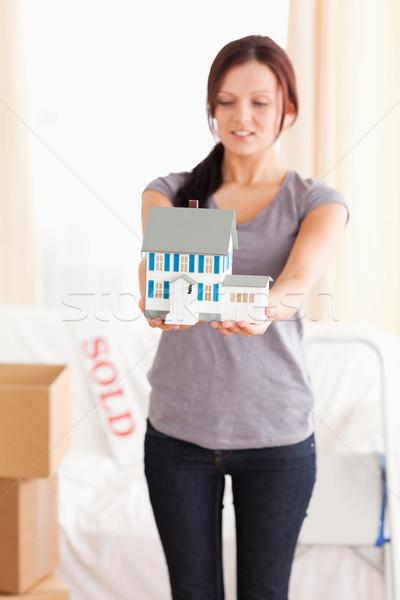 Mulher modelo casa sala de estar negócio Foto stock © wavebreak_media